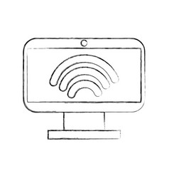 Monitor computer with wifi signsl vector
