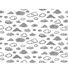 Monochrome doodle sky elements seamless pattern vector
