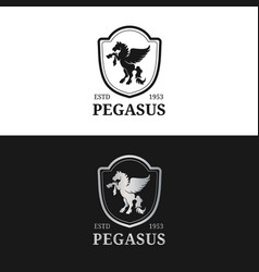 Monogram logo template luxury pegasus vector