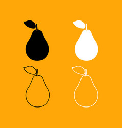 pear black and white set icon vector image vector image
