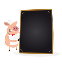 Pig cook holding blackboard menu vector