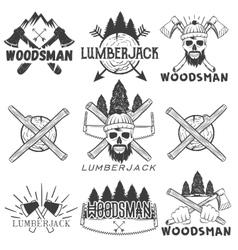set lumberjack logos emblems banners vector image