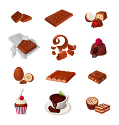 set of a chocolate products various pastry sweets vector image vector image