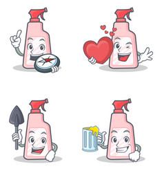 Set of cleaner character with explorer heart miner vector