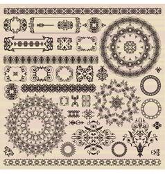 set of vintage pattern design elements vector image