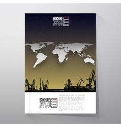Shipyard harbor skyline night design world map vector