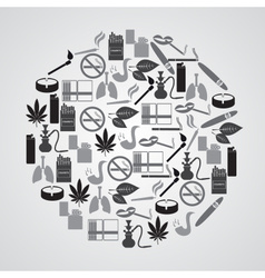 smoking and cigarettes simple icons in circle vector image