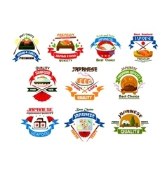 Japanese food and seafood restaurant emblems vector