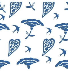 Seamless pattern with hearts flowers and swallows vector
