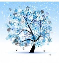Winter tree snowflakes christmas holiday vector