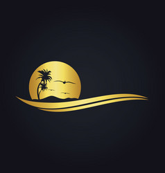 tropic beach sunset travel gold logo vector image
