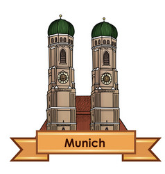 Munich city cathedral label travel germany vector