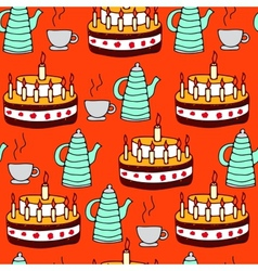 Seamless pattern of tea and pie vector