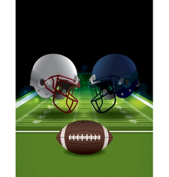 American football helmets and ball clashing vector