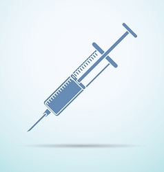 Syringe flat icon with shadow on blue background vector
