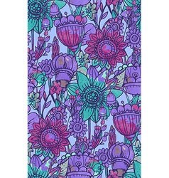 seamless pattern with fantasy flowers vector image