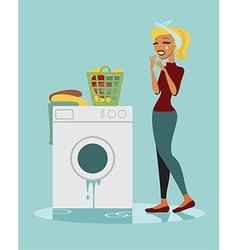 Sad housewife vector
