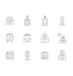 Donation boxes thin line icons collection vector image