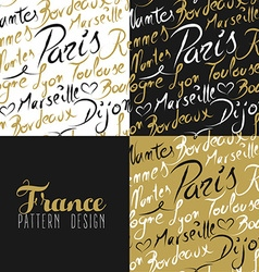 France travel love city seamless pattern gold text vector