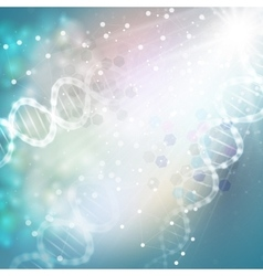 Dna molecule structure on light blue background vector