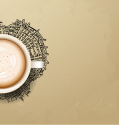 Hot coffee cup on city background vector