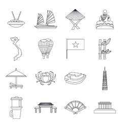 Vietnam travel icons set outline style vector