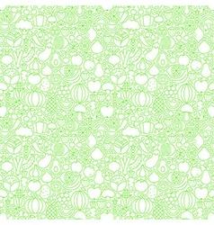 Thin line fresh fruits vegetables white seamless vector