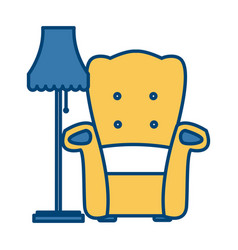 armchair and floor lamp vector image