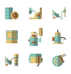 Auto service flat icons set vector image