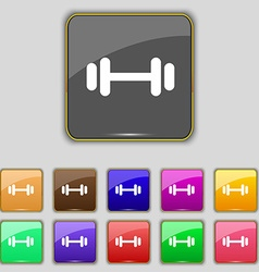Barbell icon sign set with eleven colored buttons vector