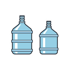 Big bottles with clean water flat icons plastic vector