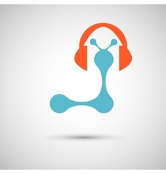 Blue with headphones on white background vector