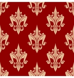 Bright red french fleur-de-lis seamless pattern vector