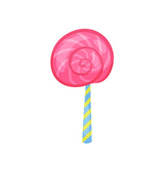 Cartoon icon of strawberry lollipop in flat style vector