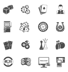 Casino gambling games black icons set vector image vector image