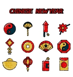 Chinese new year flat icon set vector