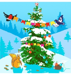 Christmas tree and animals vector image