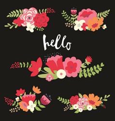Colorful floral set vector