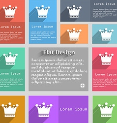 Crown icon sign set of multicolored buttons metro vector