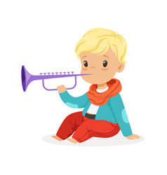 Cute little blonde boy playing clarinet young vector