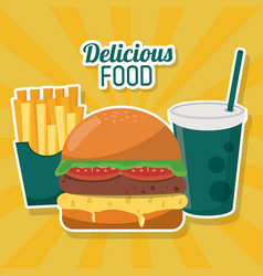Delicious food fast burger french fries soda straw vector