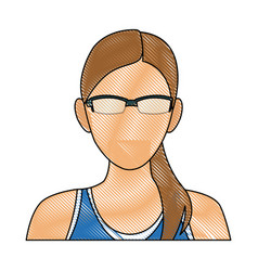 Drawing portrait woman sport concept wearing smart vector