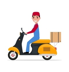 flat cartoon delivery man on a scooter vector image vector image