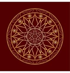 Flower Gold Mandala over Dark Red vector image