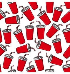 Fresh soda paper cups seamless pattern vector image vector image