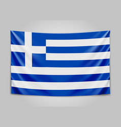 Hanging flag of greece hellenic republic greek vector
