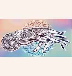 Inked hand magic hypnosis lightning beam drawing vector