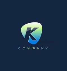 K letter logo oval shape modern design vector