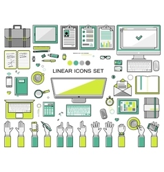 linear workplace icons collection flat style vector image