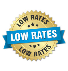 Low rates round isolated gold badge vector
